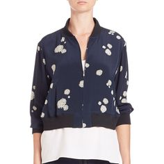 Tibi Cluster Dot Silk Bomber Jacket ($520) ❤ liked on Polyvore featuring outerwear, jackets, apparel & accessories, navy multi, flight jacket, blouson jacket, stand collar jacket, silk jacket and zip front jacket