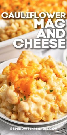 Cauliflower mac and cheese is an easy, cheesy recipe! Made with cauliflower and macaroni tossed in a homemade cheese sauce and baked until bubbly and delicious. Try as a tasty side dish, or serve as a meatless main! Mac And Cheese Sauce, Mac And Cheese Healthy, Homemade Cheese Sauce, Macaroni Cheese, Recipes With Cheese Sauce, Easy Cheesy Mac And Cheese Recipe, Mac And Cheese Pizza, Bake Mac And Cheese, Veggie Dishes