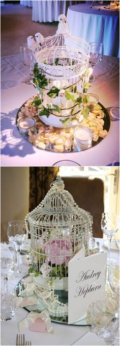 Vintage Birdcage wedding table centerpieces #weddings #centerpieces #vintage #vintageweddings #deerpearlflowers #fashion ❤️ http://www.deerpearlflowers.com/vintage-birdcage-wedding-centerpieces/