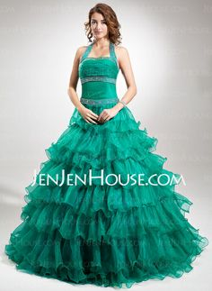 Quinceanera Dresses - $259.99 - Ball-Gown Halter Floor-Length Organza Satin Quinceanera Dress With Ruffle Beading (021016348) http://jenjenhouse.com/Ball-Gown-Halter-Floor-Length-Organza-Satin-Quinceanera-Dress-With-Ruffle-Beading-021016348-g16348