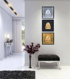Antefix Design Set of 3 - Handmade Wall or Table Ornaments - Wedding interests 3d Wall Art, Framed Wall Art, Wall Art Decor, Handmade Decorations, Wedding Decorations, Gold Ornaments, How To Make Ornaments, Frames On Wall, Gallery Wall