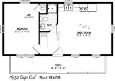 16 39 x 32 39 with 5 39 x 28 39 porch for 16x32 cabin floor plans