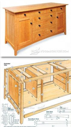Cherry Sideboard Plans - Furniture Plans and Projects - Woodwork, Woodworking, Woodworking Tips, Woodworking Techniques Woodworking Furniture Plans, Easy Woodworking Projects, Woodworking Techniques, Diy Wood Projects, Furniture Projects, Woodworking Shop, Furniture Making, Wood Furniture, Woodworking Apron