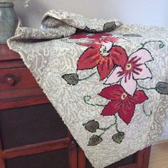Antique Hooked Rug Handmade Cotton Rug Floral by AStringorTwo