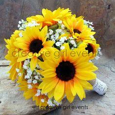 SUNFLOWERS & BABY'S BREATHE W/BURLAP 2 Pc Bouquet & Bout Set Bridal Bouquet