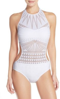 a0fec441a53f3 Kenneth Cole New York 'Deco the Distance' High Neck One-Piece Swimsuit -  ShopStyle