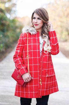 winter windowpane, jcrew windowpane jacket, red windowpane jacket, red jacket, fur hooded jacket, red windowpane, french bulldogs, lola and henry, lola and henry the frenchies, frenchie, baby its cold outside sweater, kate spade sweater, kate spade white sweater, black over the knee boots, red ysl purse, ysl wallet on a chain purse