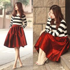 Pretty combo - stripes and red skirt