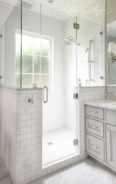window in shower, half wall, frameless shower door. Half Wall Shower, Master Bathroom Shower, Window In Shower, Upstairs Bathrooms, Window Wall, Window In Bathroom, Small Bathroom, Small Master Bath, Bathroom Showers