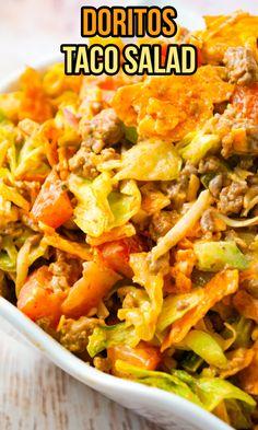 Taco Salad Doritos, Taco Salad Recipes, Taco Salads, Potluck Recipes, Vegan Recipes Easy, Easy Dinner Recipes, Mexican Food Recipes, Beef Recipes, Cooking Recipes