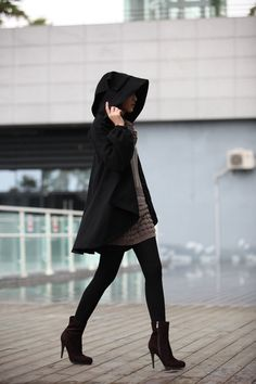 BLACK Long Sleeve Wool Winter Coat Special Hooded Woolen Cape Coat Hood Cloak Hoodie Cape for Women - NC231