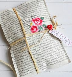 Old book pages for wrapping