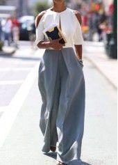 Bluish Grey Pocket Design Loose Pants | modlily.com