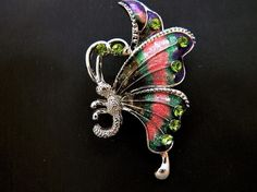 Enamel Butterfly Brooch Coat Sweater Pin Rhinestone Insect Jewelry  #Unbranded