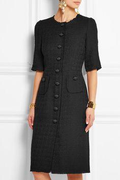 Black wool-blend tweed Concealed hook and zip fastening at back wool, polyamide; Tweed Dress, Wool Dress, Chanel Dress, Fashion Outfits, Womens Fashion, Fashion Games, Fashion 2018, Dress Fashion, Classy Dress
