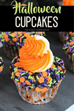 Those Halloween sprinkles that you have in your pantry are going to get put to good use when you make these bright and colorful Halloween Sprinkles Cupcakes! They're so easy to make using a box of cake mix and are double-frosted for extra cupcake goodness! #HalloweenCupcakes #ThePurplePumpkinBlog Halloween Party Drinks, Halloween Cupcakes, Sprinkle Cupcakes, Baking Cupcakes, Antipasti Platter, Cupcake Recipes From Scratch, Cheap Halloween Decorations, Great Appetizers, Sprinkles