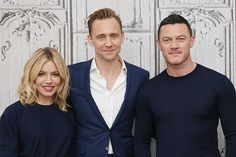 Actors Sienna Miller, Tom Hiddleston and Luke Evans attend AOL Build Series to discuss 'High-Rise' at AOL Studios in New York on April 2016 in New York City. Sienna Miller, Tom Hiddleston, Luke Evans, High Rise Movie, J G Ballard, Studios, Actors, It Cast, Stock Photos