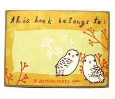 the shop at boygirlparty.com | yellow owl bookplates. SQUEEEEEEEEEEE.