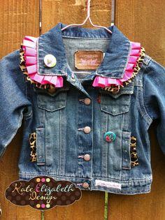 Funky, Vintage Denim Jacket $59.99 on Kate Elizabeth Design/Etsy. Check out the hot pink heart applique on the back!! #childrens, #clothing, #fashion