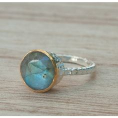 Rainbow Labradorite Ring Sterling Silver 925 Boho Organic Gold Vermeil... ($42) ❤ liked on Polyvore featuring jewelry, rings, bridal rings, gypsy jewellery, gypsy rings, sterling silver bohemian rings and solitaire ring