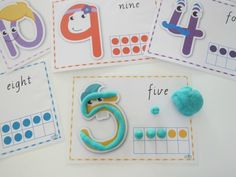 Number play dough mats with 10s frame for 1:1 correspondence - Play Dough Mats turn ordinary play dough activities into a creative and educational experience!