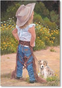 Boss Lady by June Dudley - Little Cowgirl Puppy Dog Little Cowboy, Cowboy Up, Cowboy And Cowgirl, Toddler Cowgirl, Cowboy Boots, Danse Country, Little People, Little Girls, Into The West
