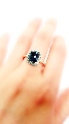 London Blue Topaz with Blue Diamonds Ring  by KatyDesmondJewelry, $785.00