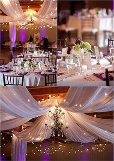 Para decorar el salón de fiestas coloca telas y luces en el techo para agregar un toque elegante a tu boda #Tips