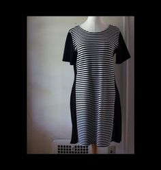 Striped Black and White Dress. Altered Vintage. Eco friendly. Size small - medium by blissjoybull