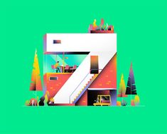 'Numerical Architecture' is Muhammed Sajid's unique contribution to 36 Days of Type, combining elements of architecture and typography to create colorful illustrations. More typography inspiration… Graphic Design Illustration, Illustration Art, Illustrations, Typography Inspiration, Design Inspiration, Learning Logo, Creative Typography, Grid Design, Premium Fonts