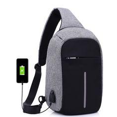 8d36fdbb7642 Модные sling bag Для женщин Для мужчин плеча bag2017 нового дизайна внешний  USB зарядки груди пакет