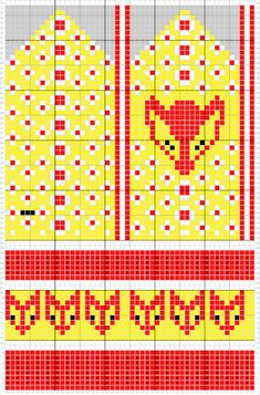 Melkein kuin uusi: Kettukarkkilapaset (ja neulekaavio!) Diy Crochet And Knitting, Knitting Charts, Crochet Chart, Knitting Patterns, Crochet Patterns, Knitted Mittens Pattern, Knit Mittens, Knitting Socks, Baby Knitting