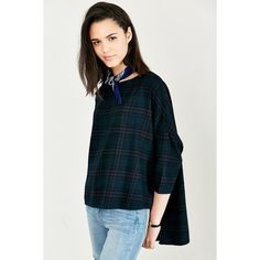 BDG Extreme Boxy Blouse ($54) ❤ liked on Polyvore featuring tops, blouses, navy plaid, oversized blouse, blue top, oversized tops, navy tops and oversized dolman top
