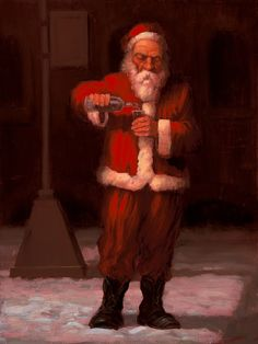 Christmas Spirits is an original oil painting by Richard Lithgow portraying Santa Claus during Christmas drinking alcohol in the snow.