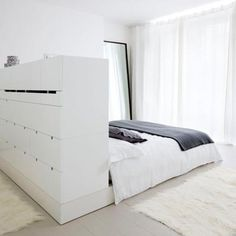 I could do this in my bedroom. A bit too white for my taste, but the drawer/closet thing is quite nice.