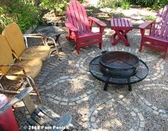 Cool Gardens: Outdoor Furniture - For an informal patio with some personality - gravel with inlaid brick border and celtic design under some shade. Add some container plants for color, comfy outdoor furniture and a fire pit for cool evenings. Pea Gravel Patio, Flagstone Patio, Brick Patios, Patio Steps, Fire Pit Backyard, Backyard Patio, Backyard Ideas, Patio Roof, Garden Ideas