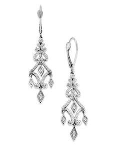 Diamond Earrings, 14k White Gold Diamond Chandelier Drop Earrings (1/4 ct. t.w.) from Macy's on shop.CatalogSpree.com, your personal digital mall.