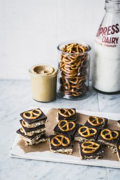 Peanut Butter & Pretzel Bars with Dark Chocolate... our three favorite food groups!