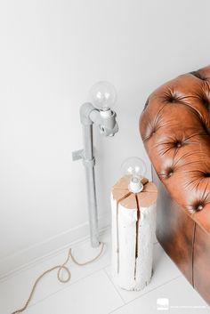 Chesterfield bank cognac en DIY stalamp