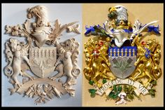 Family Coat of arms with shieldholders | Family Coat of Arms carved in wood | Family Crests custom carved | Wooden crest , Heraldic and Heraldry | Classical Traditional woodcarving | Ornamental woodcarver Patrick damiaens | A Coat of Arms-Crest carved in wood, painted and gilded | http://www.patrickdamiaens.be