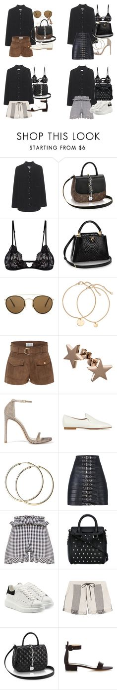 """how to style a black button up for summer"" by florencia95 ❤ liked on Polyvore featuring Equipment, Mosmann, Ray-Ban, Frame, Stuart Weitzman, The Row, Manokhi, Alexander McQueen, Derek Lam and Gianvito Rossi"