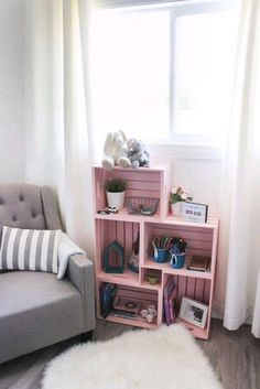 Use wooden crates and spray paint in a unique way to make some beautiful home decor for your child's bedroom or nursery! Love this pick colour for a girl's room! Pretty and pink :) diy bedroom decor DIY Crate Bookshelf Cool Bookshelves, Crate Bookshelf, Bookshelf Ideas, Book Shelves, Girls Bookshelf, Diy Bookshelf Design, Wood Crate Shelves, Bedroom Bookshelf, Small Bookshelf