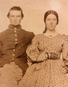 Hinton and wife Minerve J. Freeman of Madison, Indiana, William served in the Indiana, Company. He was captured at Munfordsville and Paroled. Us History, Women In History, Historical Images, Historical Clothing, American Civil War, American History, Vintage Photographs, Vintage Photos, Madison Indiana