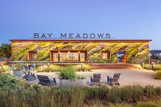 'bay meadows welcome center', designed by BCV architects with habitat horticulture in san mateo, california