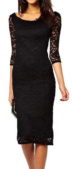 made2envy Boat Neckline Lace Overlay Evening Midi Dress (S, Black)