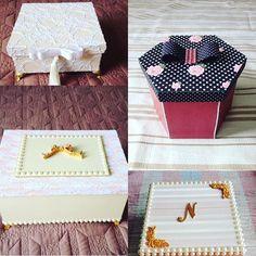 Caixas em Mdf.Decora e organiza nossa casa,podemos guardar remédios, documentos, lembranças , fotos ou darmos de presente.Fica bem em todos ambientes.Varios tamanhos e modelos.Escolha a sua!#caixa#caixaspersonalizadas#amooquefaco#artesanato#feitoamao#caixasdecoradas#caixasmdf#renda#perolas#feitopormim#amoarte#tudoorganizado#caixaluxo#caixapresente#caixasespeciais#mdf#mdfdecorado#presente