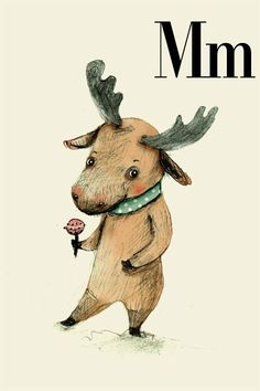 Childrens Wall Art Print -M for Moose, Alphabet animal,  Print 8x11 inches. $20.00, via Etsy.