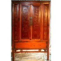 Antique Asian Chinese Furniture, Tall Cabinet, False 4 door