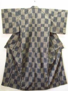 ★着物10★ 1円 絹 紬 麻の葉に市松 袷着物 ☆☆☆☆_画像3