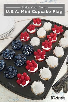 Bake a batch of red, white and blue cupcakes for your patriotic celebration! Recreate this festive flag design in three simple steps. First prepare mini cupcakes by following your recipe of choice. Let cool and then spread a thick layer of icing on each one. Finally, cover cupcakes in blueberry, raspberry and coconut flakes to resemble the USA flag! Your guests are sure to love this tasty and patriotic treat!